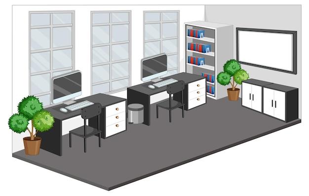 隔離された空の職場や事務室 無料ベクター