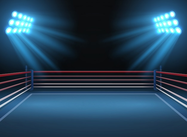 Empty wrestling sport arena. boxing ring dramatic sports vector background. sport competition ring for wrestling and boxing arena illustration Premium Vector
