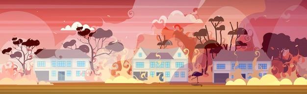 Эму или страус бежит от лесных пожаров в австралии пожары горят дома концепция стихийных бедствий интенсивное оранжевое пламя горизонтальное Premium векторы