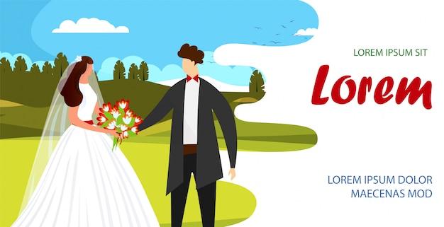 Enamored happy couple of bride and handsome groom. Premium Vector