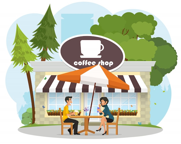 Enamored pair young people on a date at a cafe in the park. Premium Vector