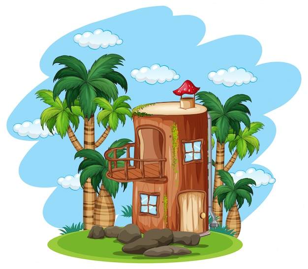 Enchanted wooden house in nature Free Vector