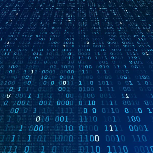 Информация о шифровании. двоичный код на синем фоне. абстрактное понятие алгоритма больших данных. иллюстрация Premium векторы
