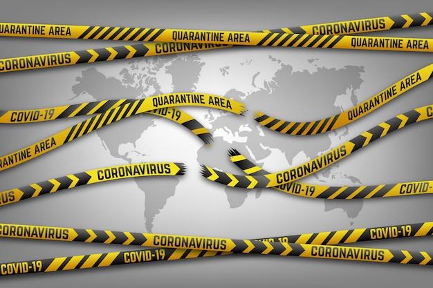 End of coronavirus quarantine tape and map Free Vector