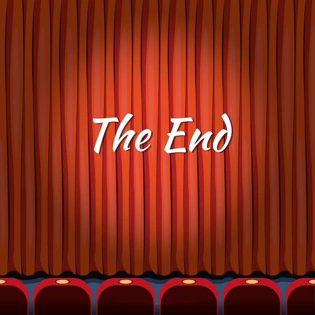 The end, lettering over red curtain close theater, end or finish, show or entertainment concept Free Vector