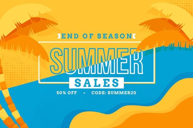 Конец сезона летних горизонтальных продаж баннер Бесплатные векторы