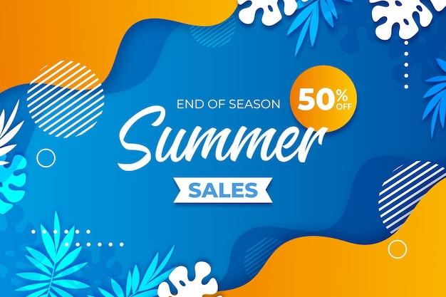 시즌 여름 판매 배너 서식의 끝 프리미엄 벡터