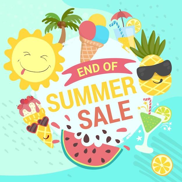 Конец сезона летней распродажи баннера с фруктами и мороженым Бесплатные векторы