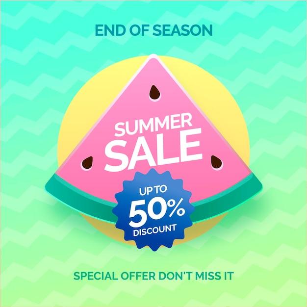 Конец сезона летняя распродажа баннер с арбузом Бесплатные векторы