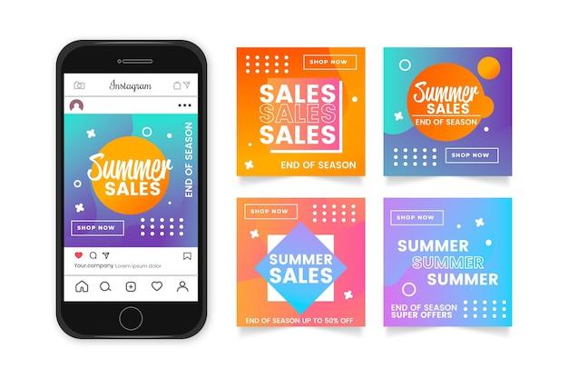 Конец сезона летняя распродажа инстаграм пост коллекция Бесплатные векторы