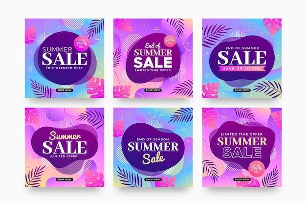 Конец сезона летняя распродажа инстаграм пост коллекция Premium векторы