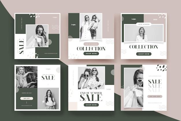 Конец сезона летней распродажи в instagram Бесплатные векторы