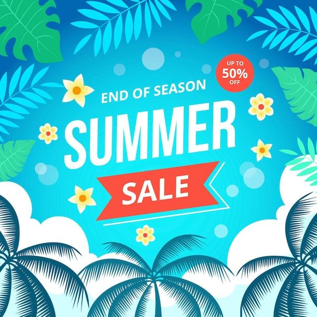 Конец сезона летняя распродажа баннер Бесплатные векторы