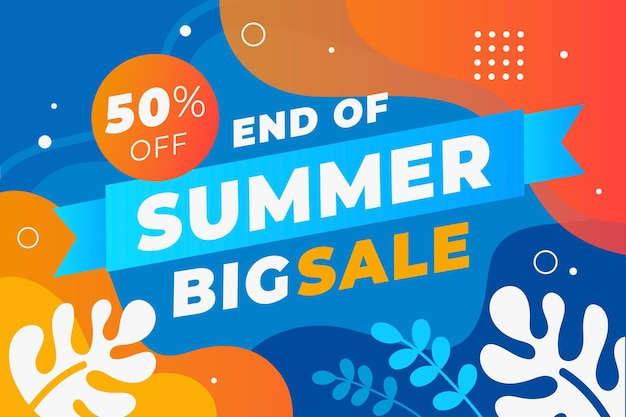 End of season summer sale background Free Vector