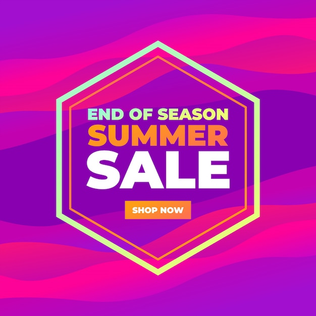 End of season summer sale colorful abstract curve banner. Premium Vector