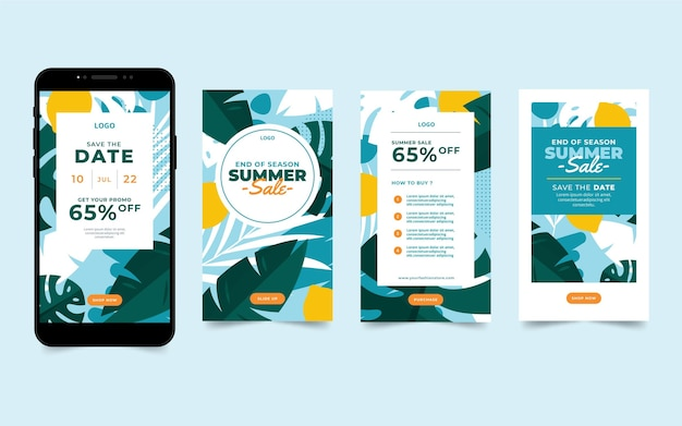 End of season summer sale instagram stories collection Free Vector