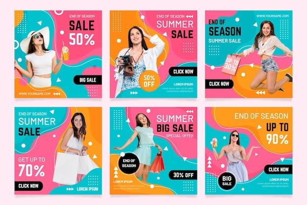 End of season summer sale instragram post Free Vector