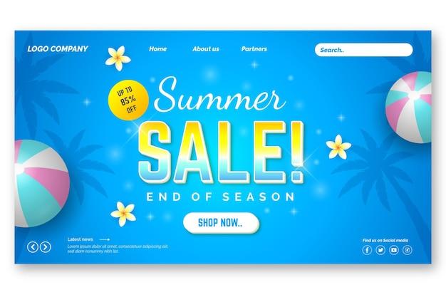 Saldi estivi di fine stagione - landing page Vettore gratuito