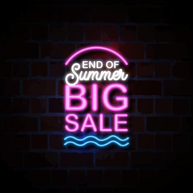 End of summer big sale neon style sign illustration Premium Vector