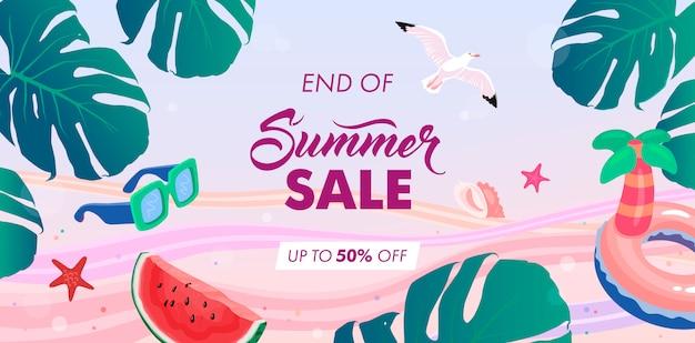 End of summer sale background Premium Vector