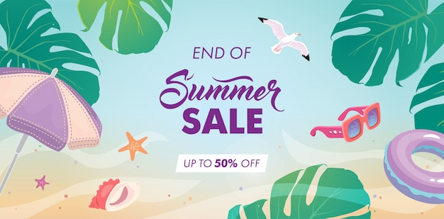 End of summer sale background Premium Vector