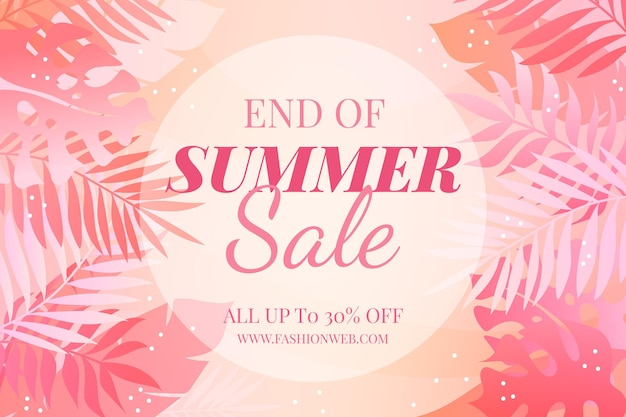 End of summer sale background Free Vector