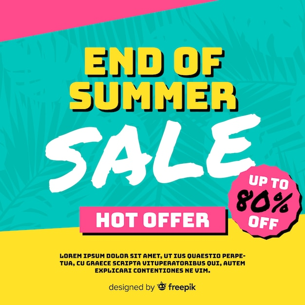 End of summer sales background Free Vector