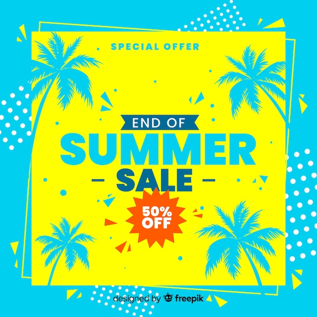 End of summer sales background Premium Vector