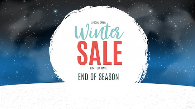 End of winter sale banner, discount coupon template. Premium Vector