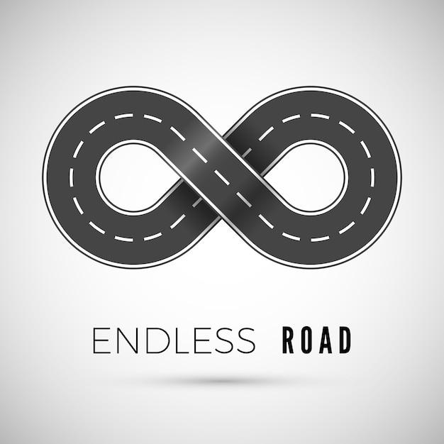 Бесконечная реалистичная дорога в форме знака бесконечности. Premium векторы