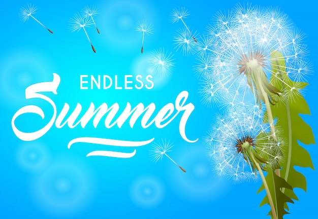 Endless summer banner with blowing dandelion on sky blue background. Free Vector