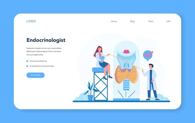 Веб-баннер эндокринолога или целевая страница. Premium векторы