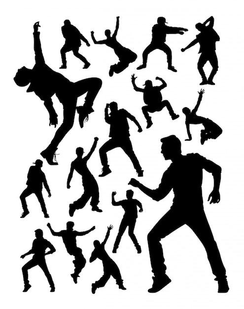Energetic modern dancer activity silhouettes. Premium Vector
