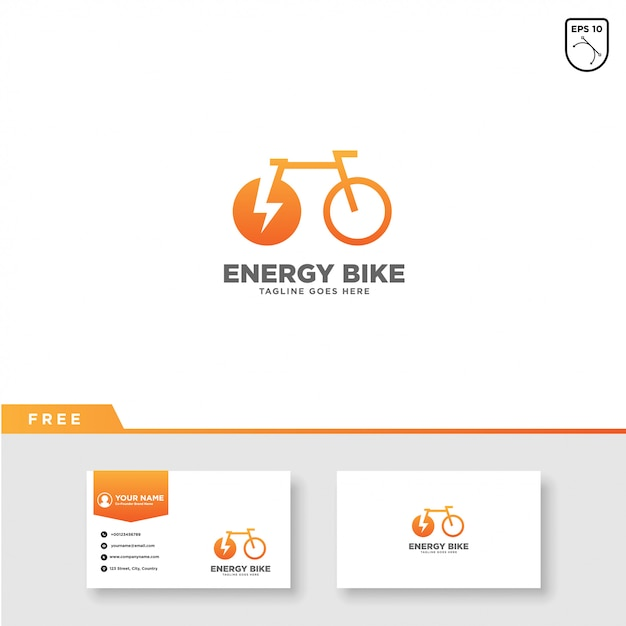Energy bike logo vector and business card template Premium Vector