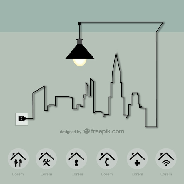 Energy city made with a lamp cable Free Vector