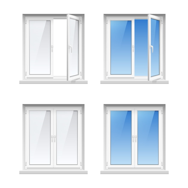 Energy cost saving easy to care plastic pvc window frames Free Vector