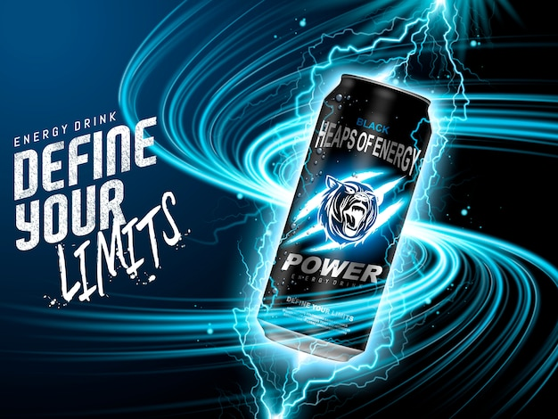 Energy drink ad Premium Vector