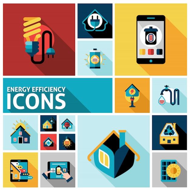 Energy efficiency icons set Free Vector