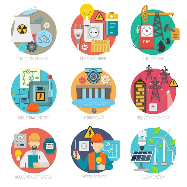 Energy flat icons composition set Free Vector
