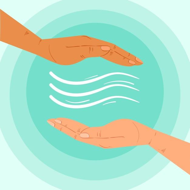 Concetto di mani di guarigione energetica Vettore gratuito