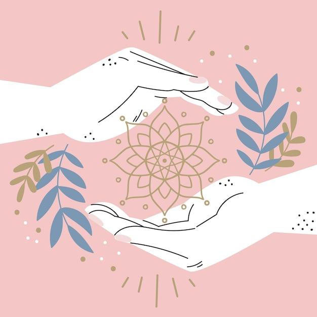 Energy healing hands hand drawn design Free Vector