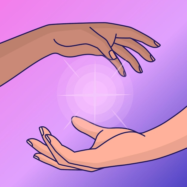 Energy healing hands illustration Free Vector