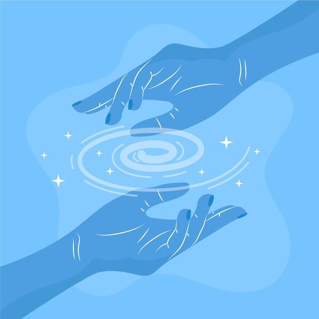 エネルギー治癒手治療法 無料ベクター