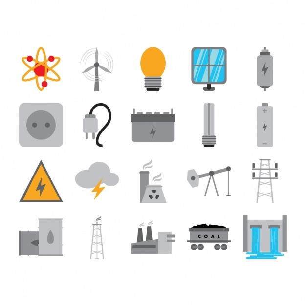 Energy icons collection Free Vector