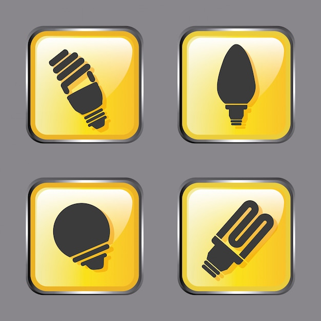Energy icons over gray Free Vector