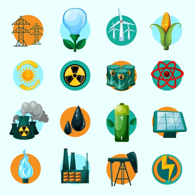Energy icons set Free Vector