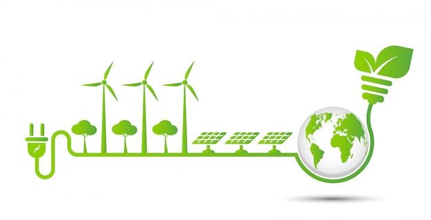 Energy ideas save the world concept power plug green ecology Premium Vector