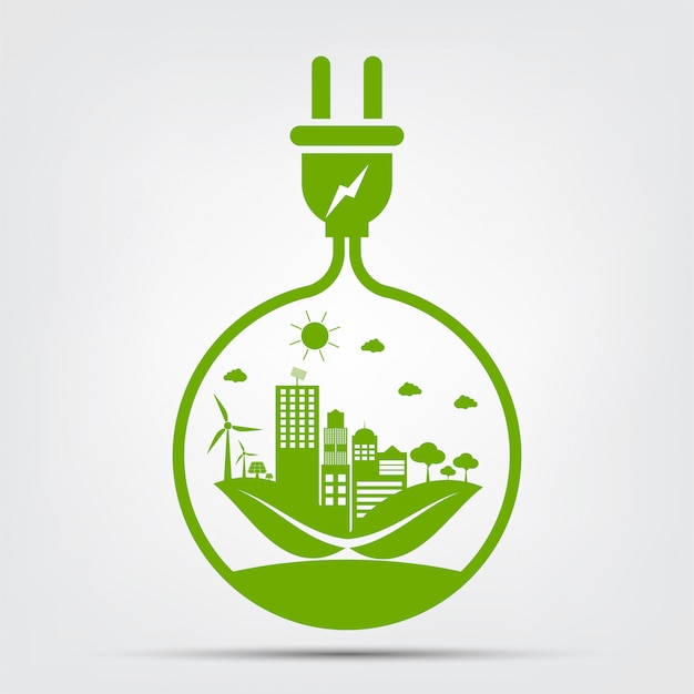 Energy ideas save the world concept power plug green ecology Premium Vector