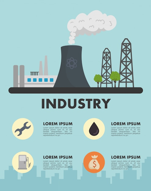 Energy industry production plant scene and set icons vector illustration design Premium Vector