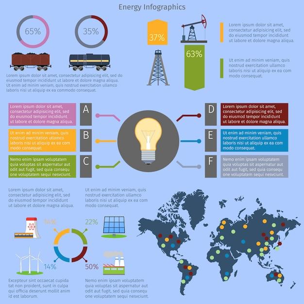 Energy infographic template set Premium Vector